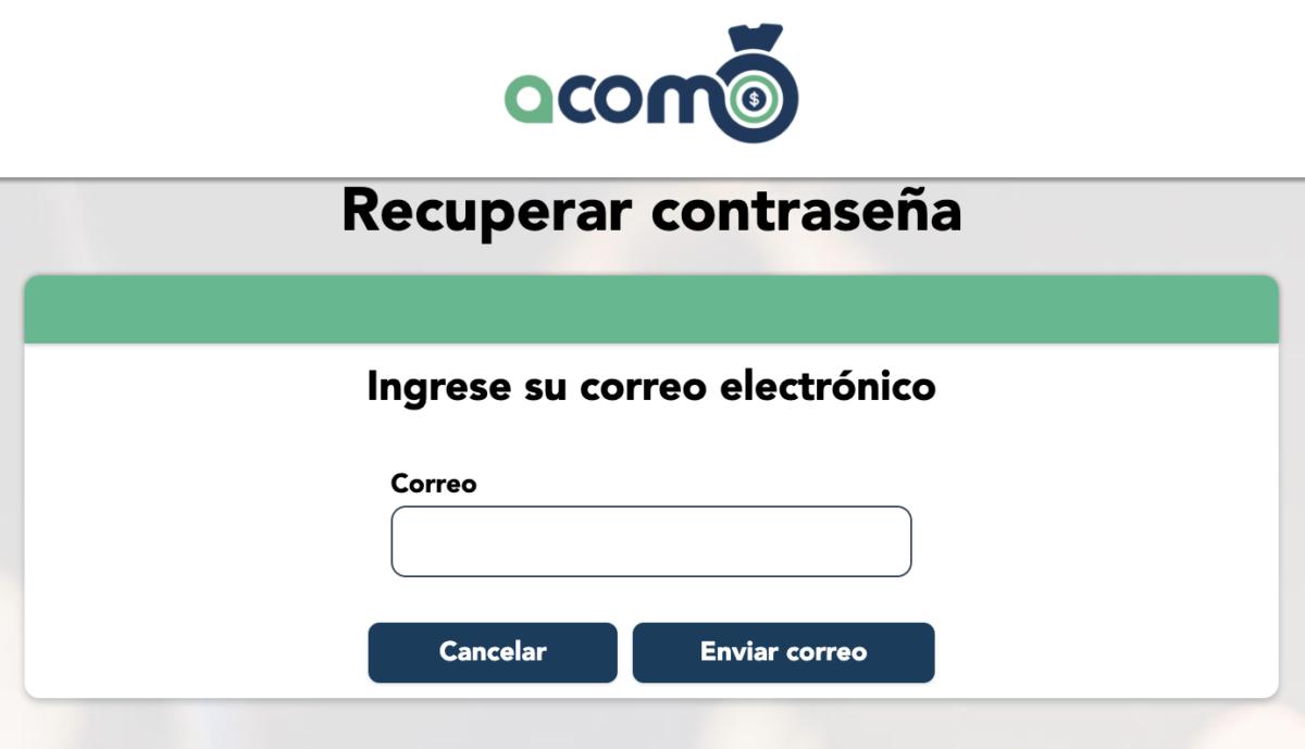 Recuperar contraseña en ACOMO - casa de cambio online - dolares a soles
